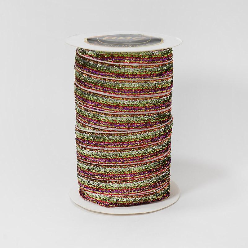 Лента бархатная металлизированная 10мм 22.86м 47 золото/радуга меланж