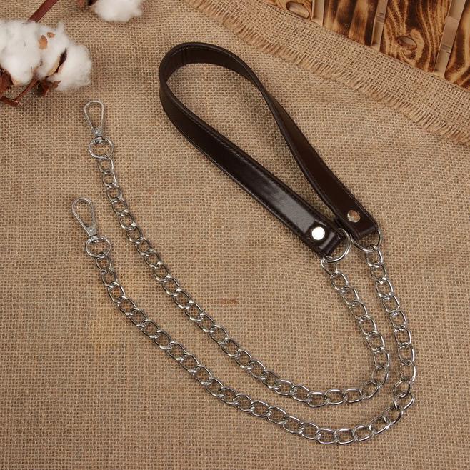 Ручка для сумки кожаная с цепочками и карабинами 120х1,8см 4327950