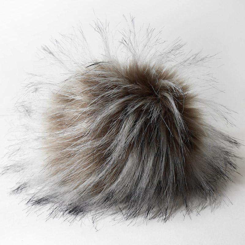 Помпон 13-15см искусственный под енота коричневый-седой