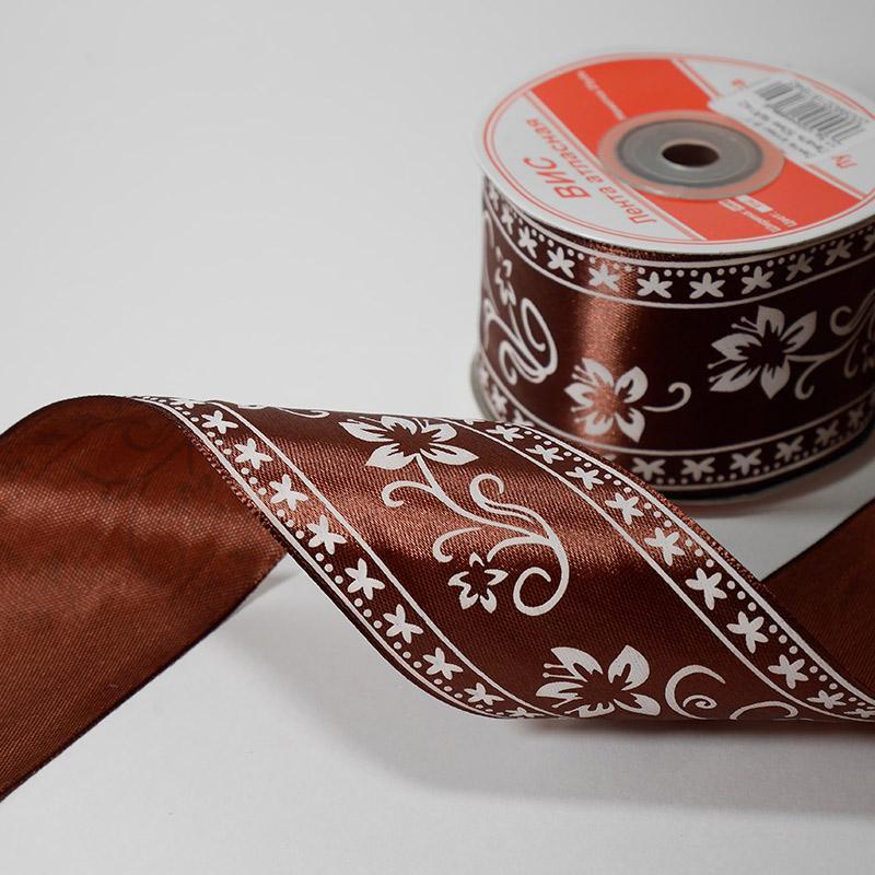 Лента атлас В 1 Печать 50мм №R142 22,5м коричневый