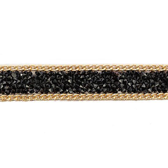 Тесьма термоклеевая со стразами и бусинами TBY-S16 18мм 4,57м золото/черный