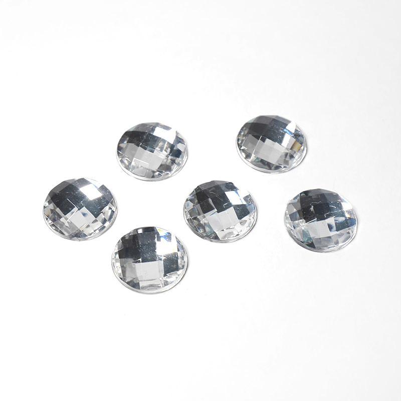 Стразы акриловые клеевые Круг 16мм 100шт серебро