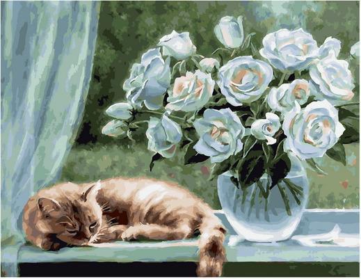 Картина по номерам PK 79011 Белые розы (Воробьева Ольга) 40х50см