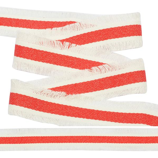 Тесьма с бахромой TBYF09 30мм 13.71м белый-красный
