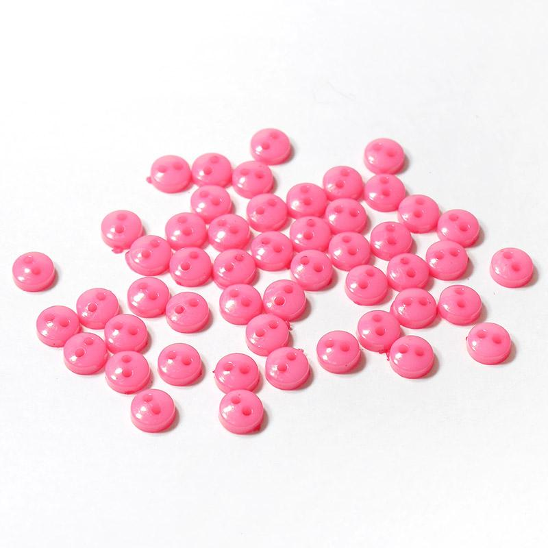 Пуговицы мини 6мм на 2 прокола пластик 50шт т.розовый 27387