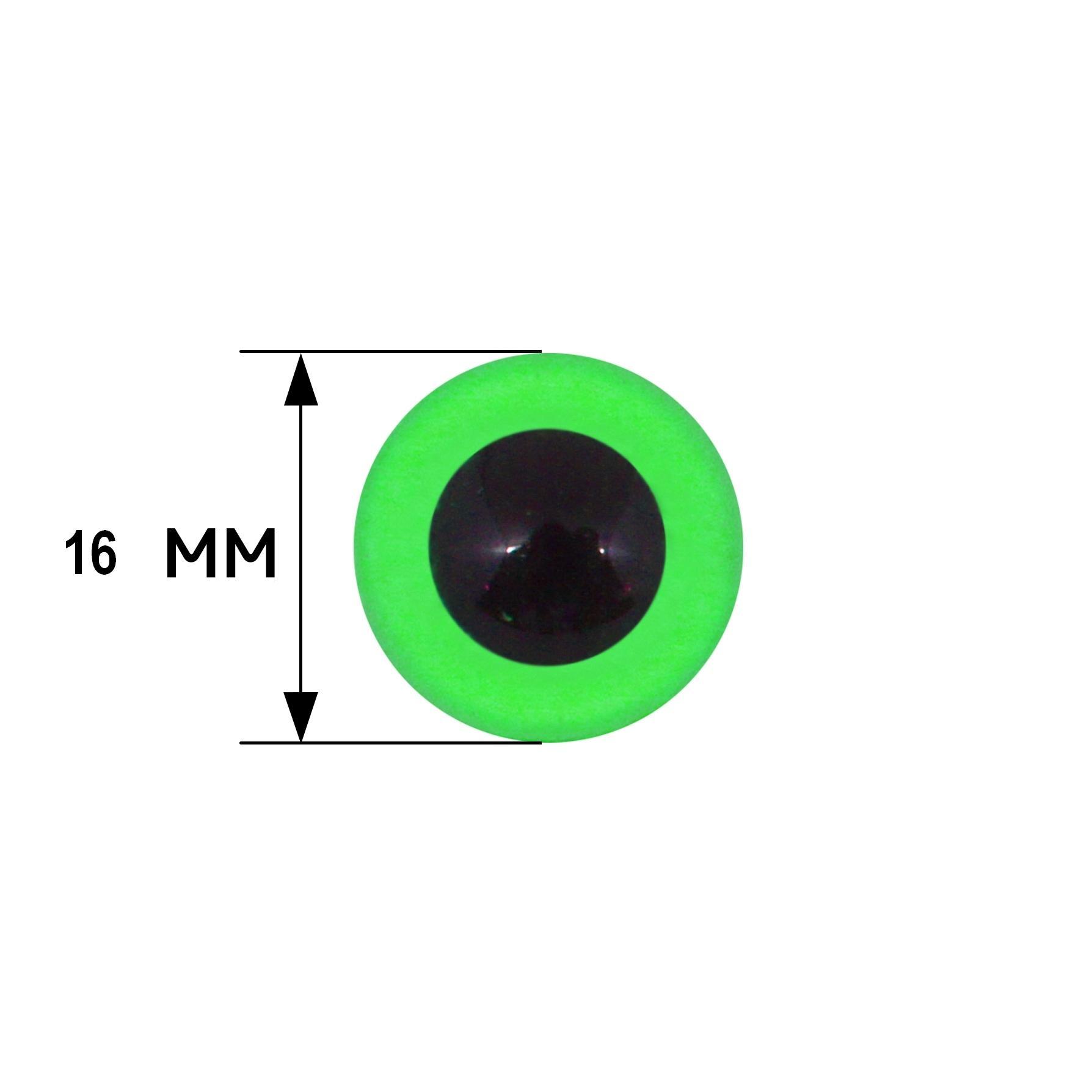 Глазки клеевые 16мм 6шт зеленый 28551