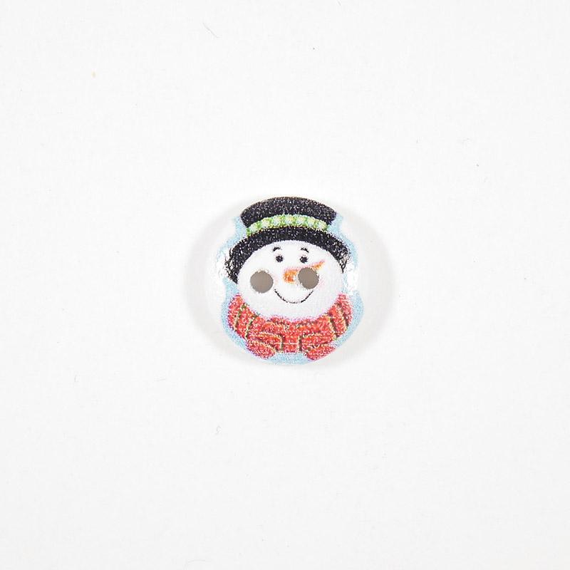 Пуговица деревянная Снеговик №08 15мм