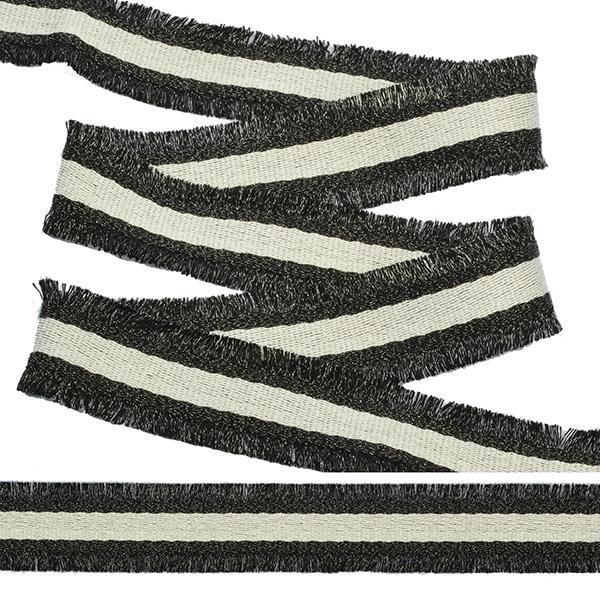 Тесьма с бахромой TBYF08 30мм 13.71м белый-черный