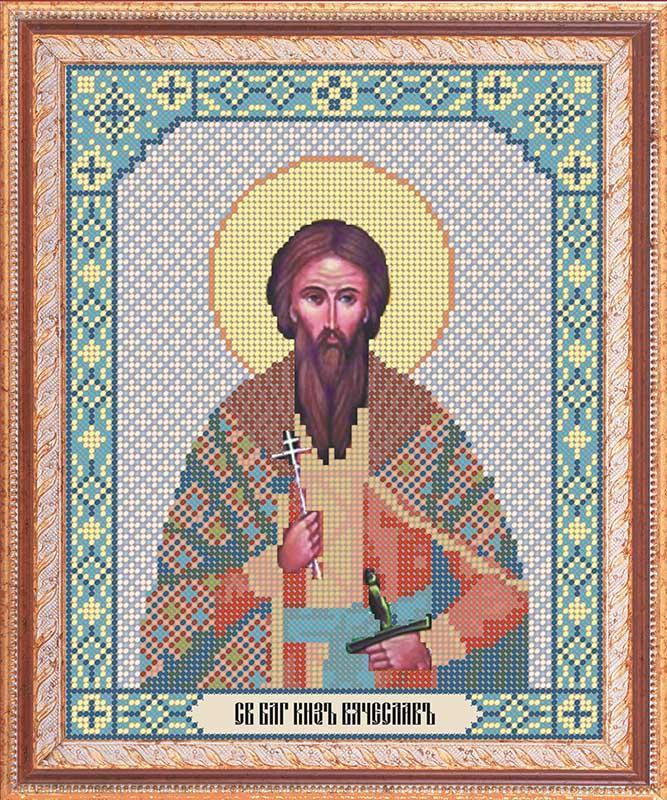 Канва с рисунком под бисер ИББ-044 Св. Блг. Вячеслав  19,5х24,5 см