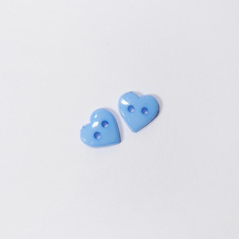Пуговицы детские Сердце 10мм 2прокола 1шт голубой