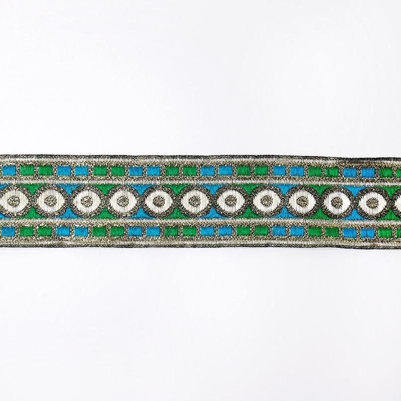Тесьма жаккард 33мм 7м рис. 50 голубой/зеленый