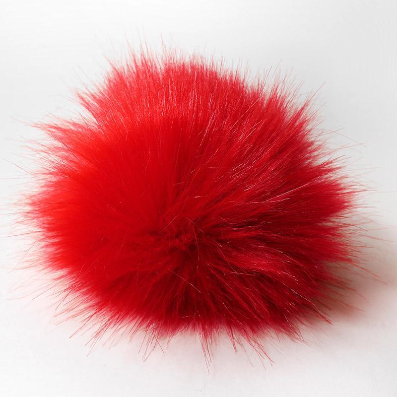 Помпон 13-15см искусственный под енота красный