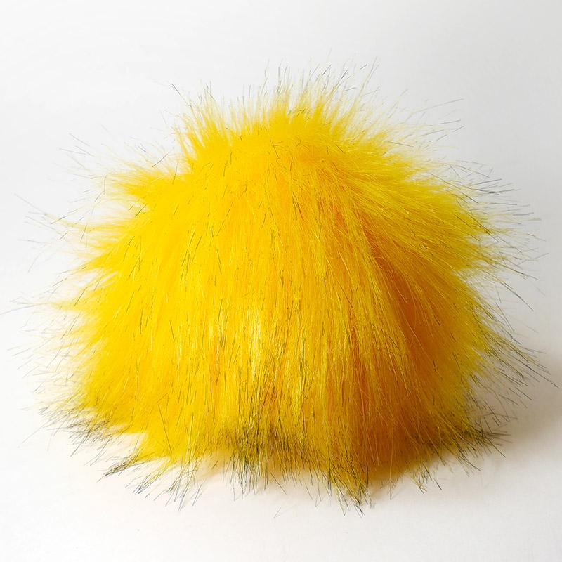 Помпон 13-15см искусственный под енота желток (черные кончики)