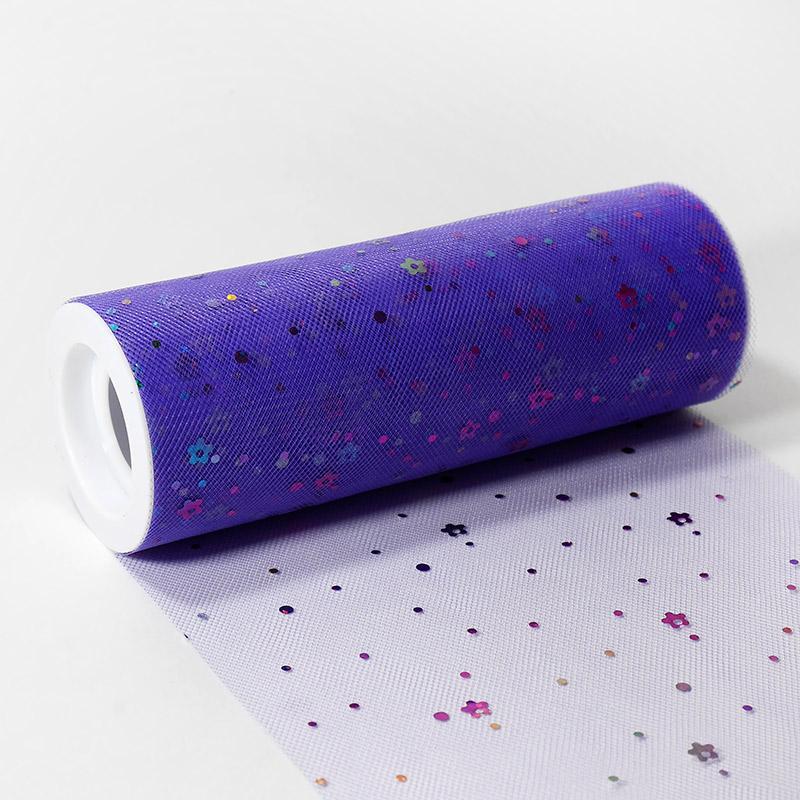 Фатин с пайетками цветок 150мм 9.14м KD23 св.фиолетовый В