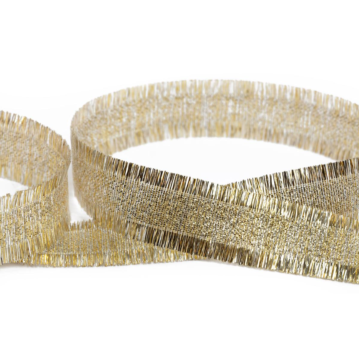 Тесьма металлизированная с бахромой 20мм 33м MRBH-20 под золото/под серебро