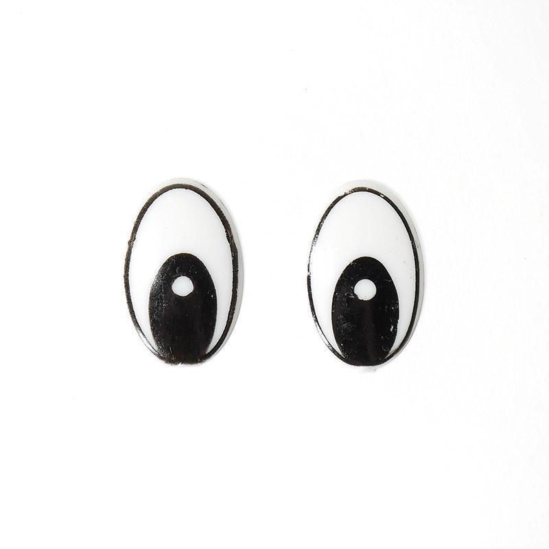 Глазки клеевые овал без ресниц 13х20мм (черный) (О2)
