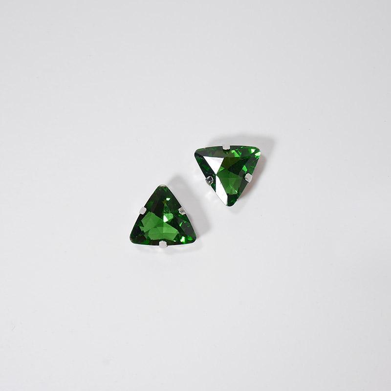 Стразы пришивные Треугольник 18мм 10шт SF-3765 зеленый 251-493