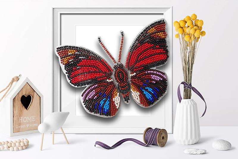 б-016 Набор для вышивания бисером 3-D Бабочка Agrias Claudina 9,5х13,5см