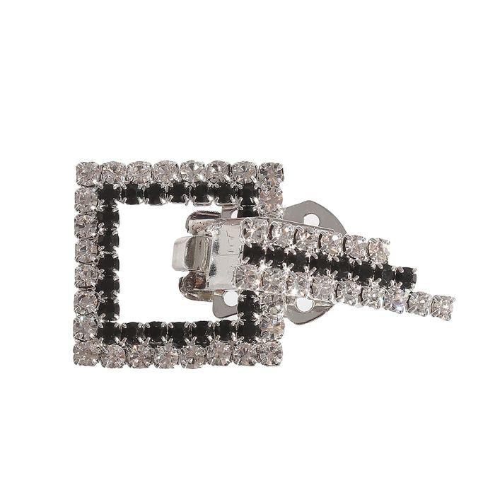 Декоративная пуговица Квадрат с полосой 2,5см серебристый 1364574