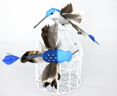 Птичка Колибри 11х9см 2шт синий 24571