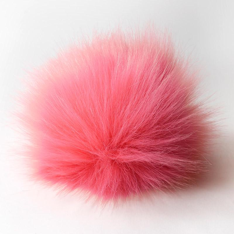 Помпон 13-15см искусственный под енота розовый