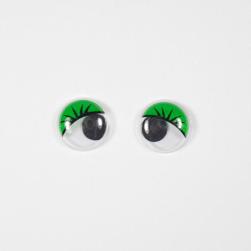 Глазки бегающие 12мм круг. с ресницами, зеленые (О1)