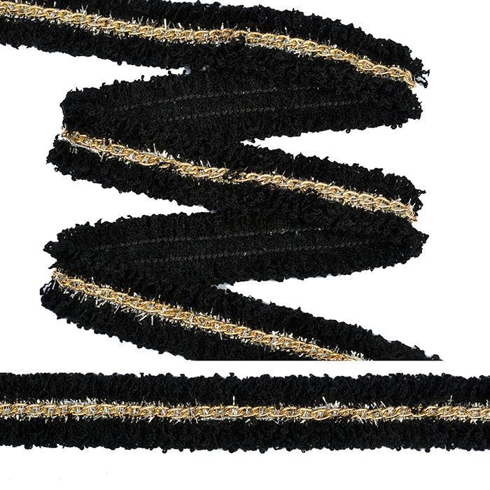 Тесьма с цепочкой TBY SL.TCSB3 18мм черный/золото