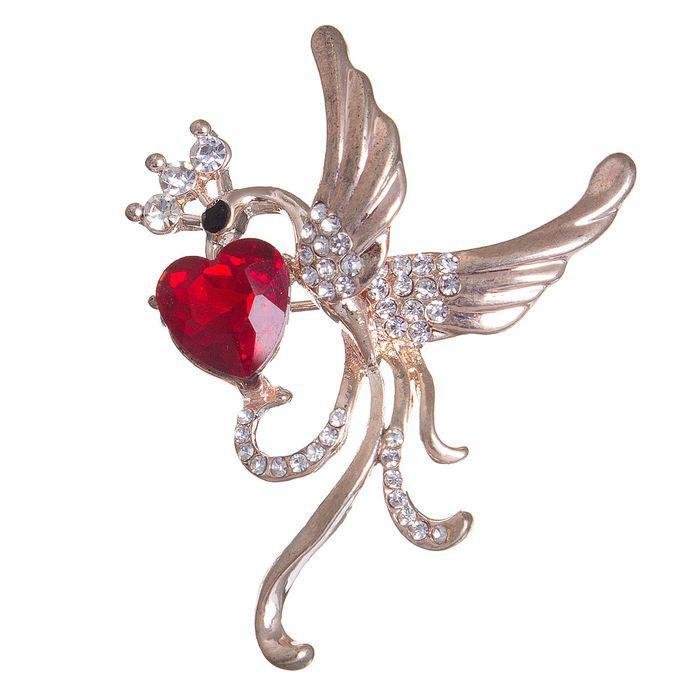 Брошь Жар-птица с сердцем бело-красный в золоте 1489346