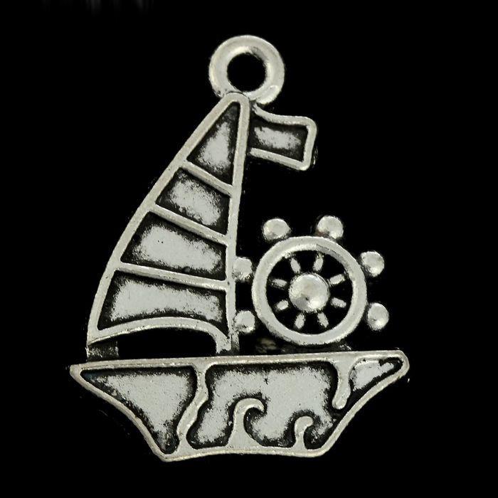 Декор металл Парусник со штурвалом 1410001