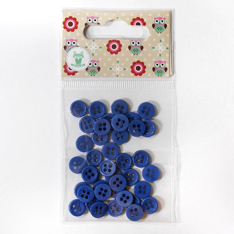 Пуговицы мини 9мм на 4 прокола пластик 40шт т.синий 27394