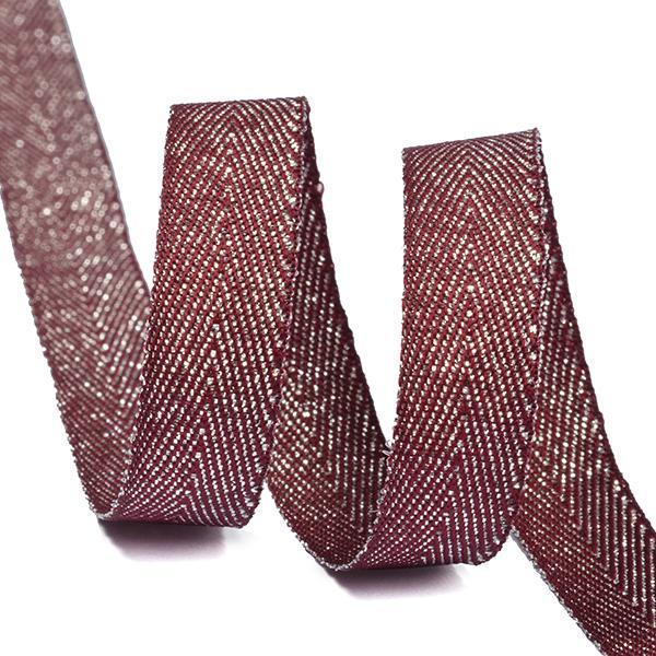 Тесьма киперная металлизированная TBYT04 10мм 22,85м S021 красный