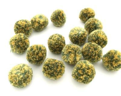 Помпоны мраморные 20мм 16шт зеленый-желтый 25491