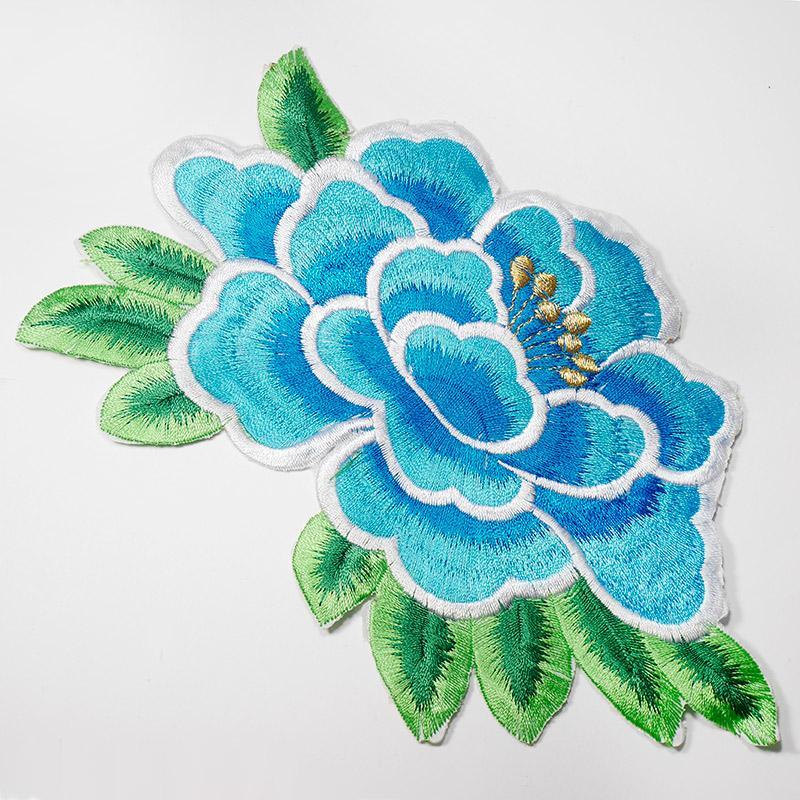 Термоаппликация Цветок KD001 18х10.5см голубой