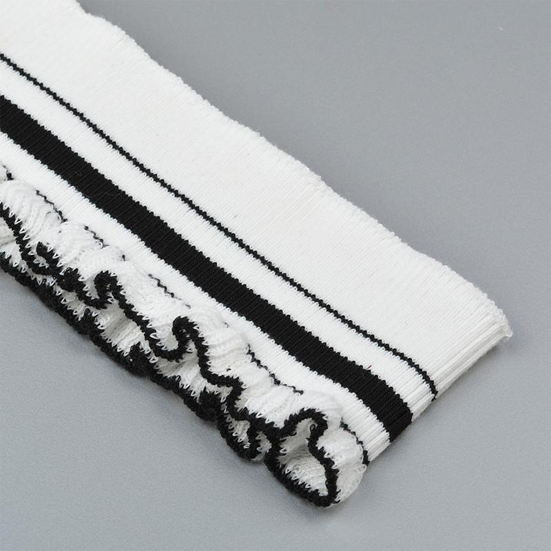 Подвяз трикотажный TBY.73015 рюш 6х80см  белый с черными полосами