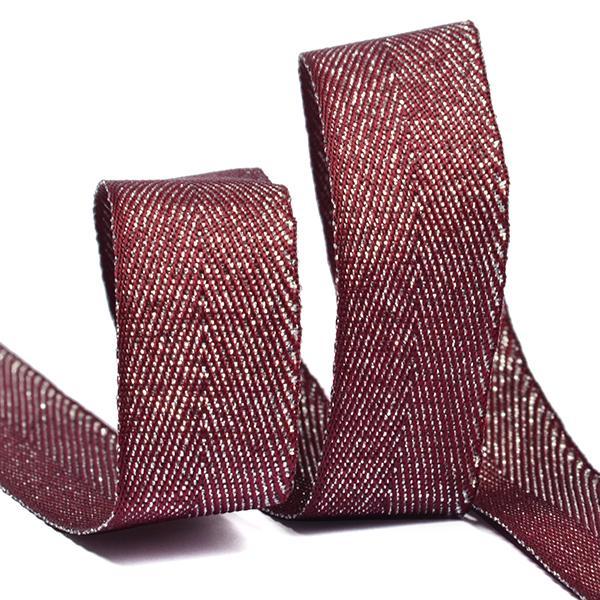 Тесьма киперная металлизированная TBYT11 16мм 22,85м S021 красный