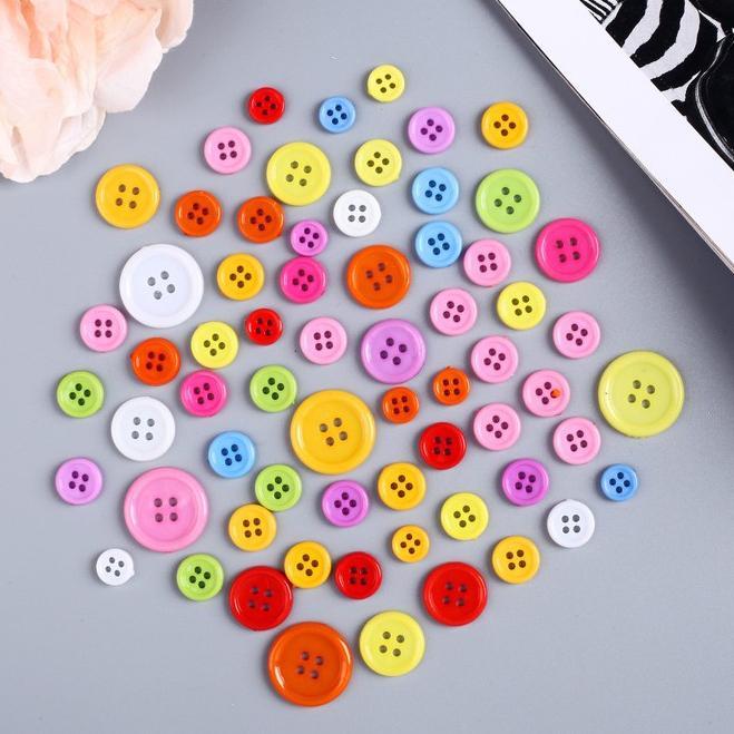 Набор пуговиц декоративных пластик Цветные 279958