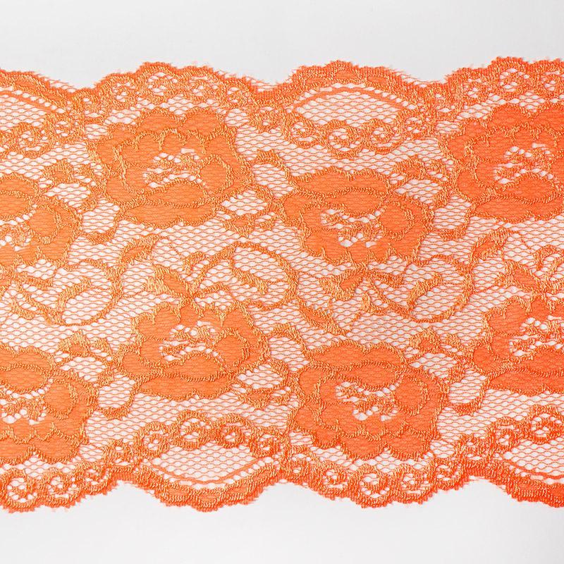 Кружево стрейч 140мм/5м арт.1559 ярко-оранжевый