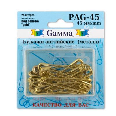 Булавки английские PAG-45 25шт золото