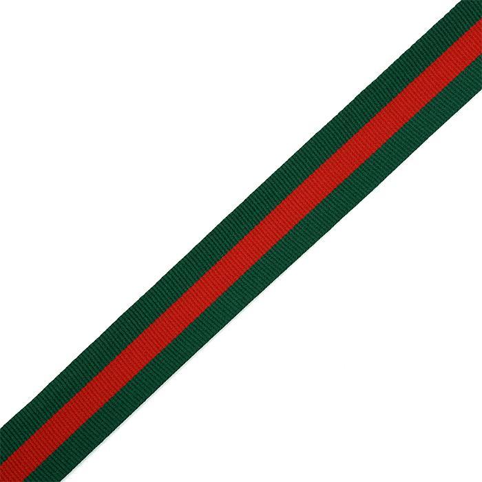 Тесьма тканевая рубчик неэластичная Лампас  Ф.4025Р.1 25мм 50м зеленый/красный