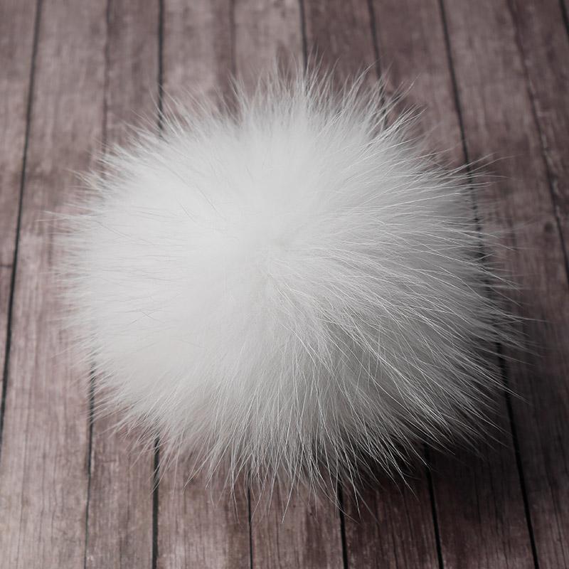 Помпон натуральный песец 12см белый