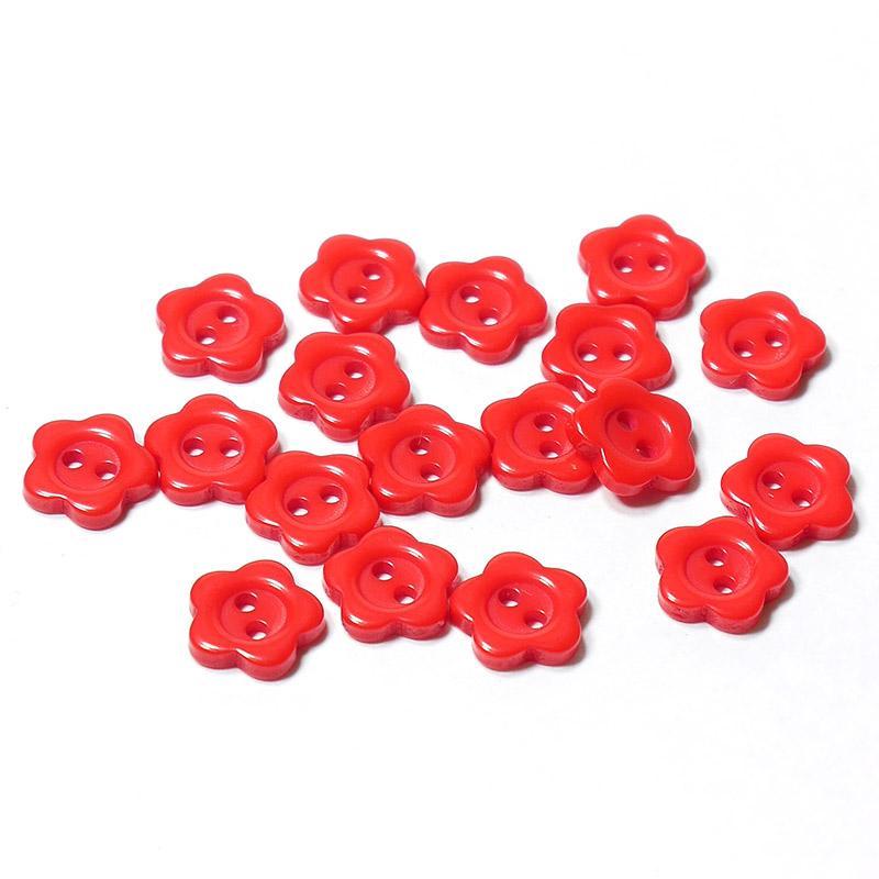 Пуговицы мини 10мм цветок пластик на 2 прокола 18шт красный 27335