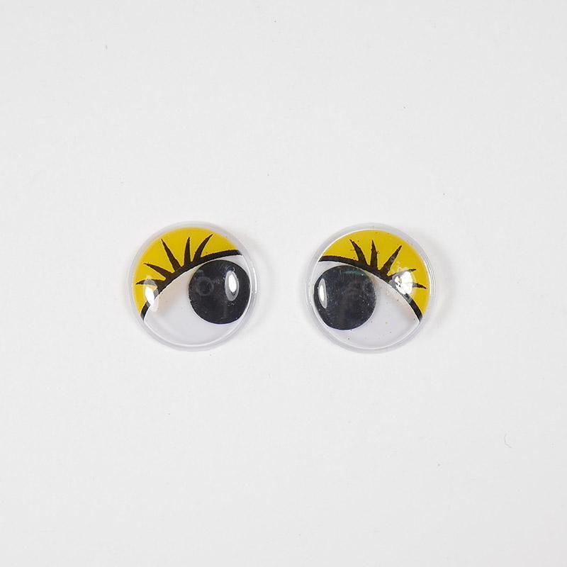 Глазки бегающие клеевые с ресн. 7мм желтый (О2)