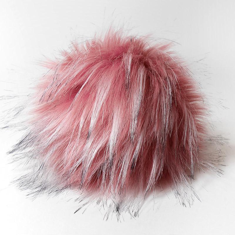 Помпон 13-15см грязно-розовый с белым и черным №21 искус под енота