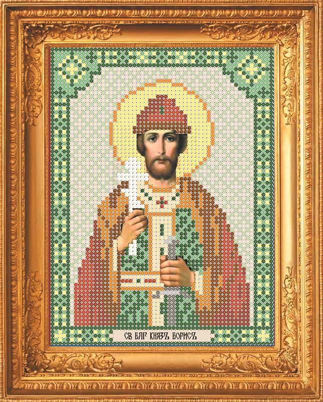 Канва с рисунком под бисер ИБ-010 Св. Блг. Князь Борис  12х16см