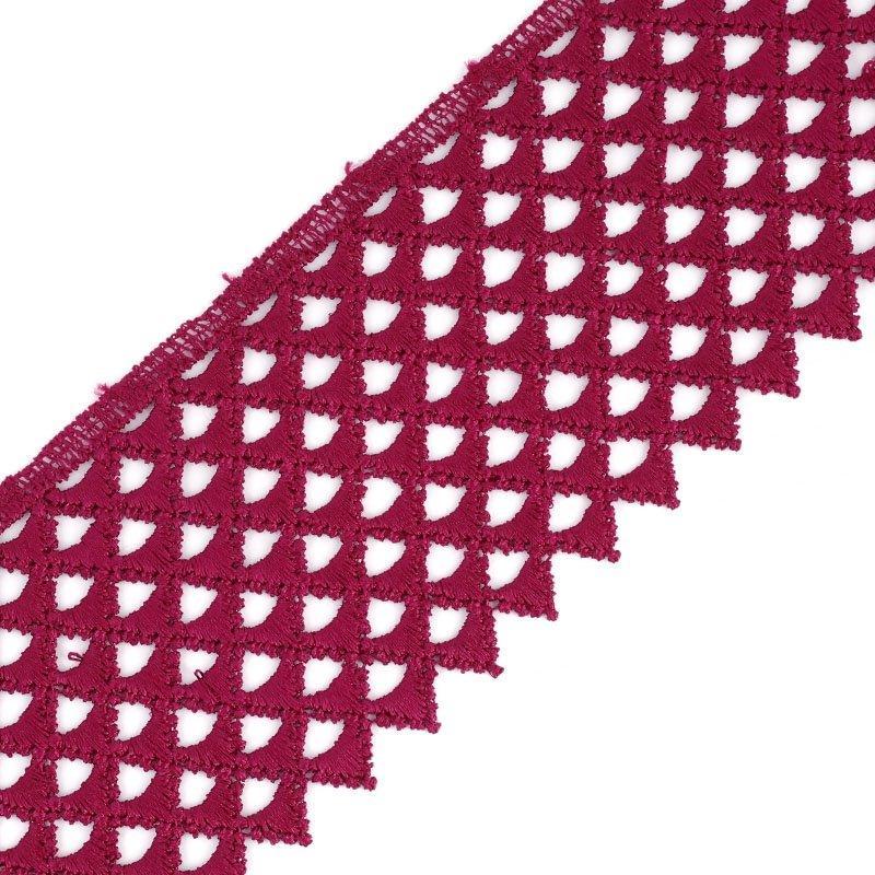 Кружево гипюр TBY-12131-3 75мм 13,71м 048 бордо