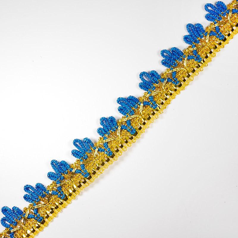Тесьма металлизир. №3038 30мм 16,5м золото/синий