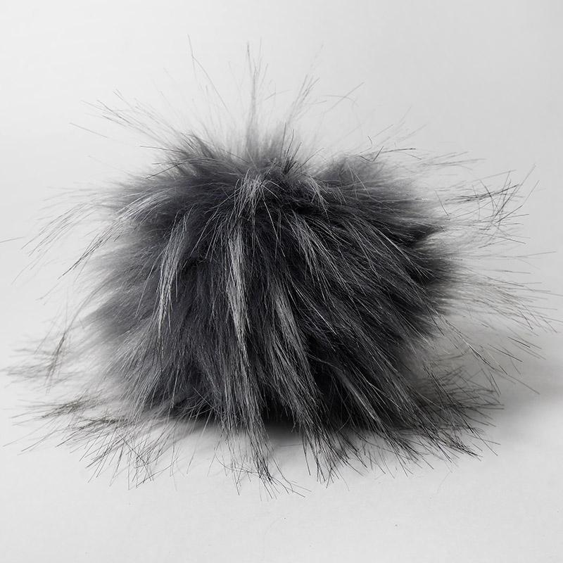 Помпон 15см искусственный под енота серый