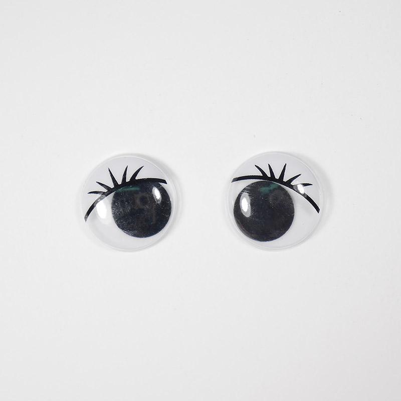 Глазки бегающие 15мм круг. с ресницами, черные (О1)