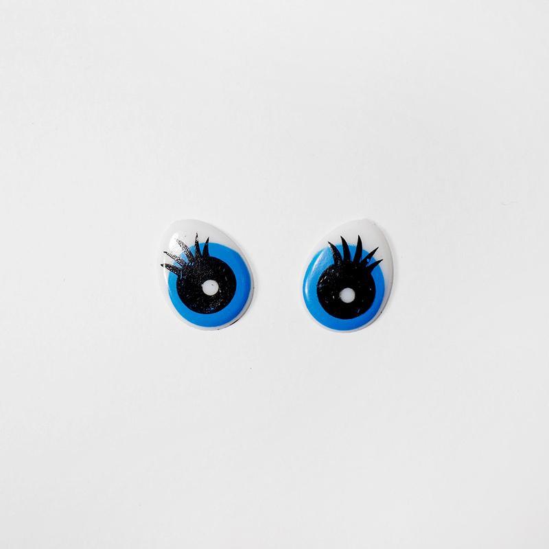 Глазки клеевые Овал с ресницами 14х18мм синий  (О2)