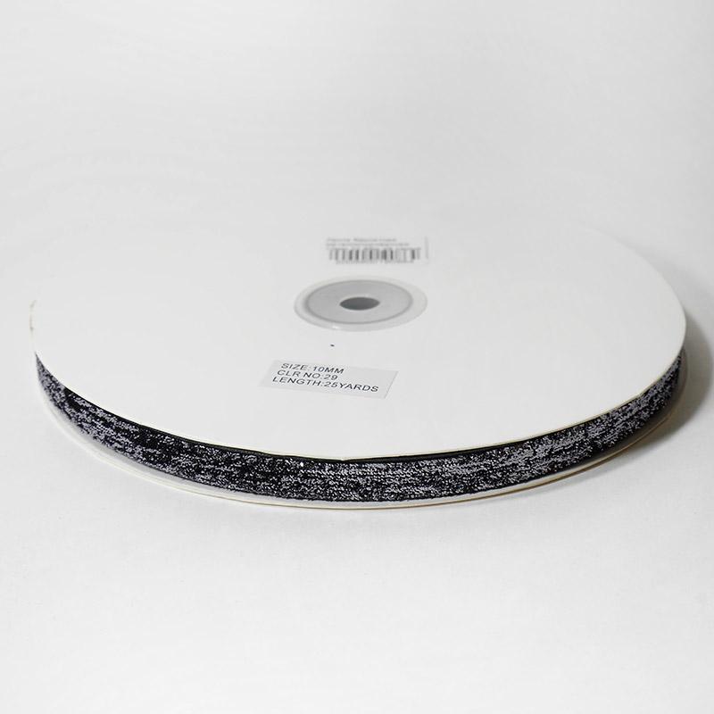 Лента бархатная металлизированная 10мм 22,86м 29 серый